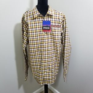 NWT Patagonia New Belgium Maroon Yellow Plaid SZ L